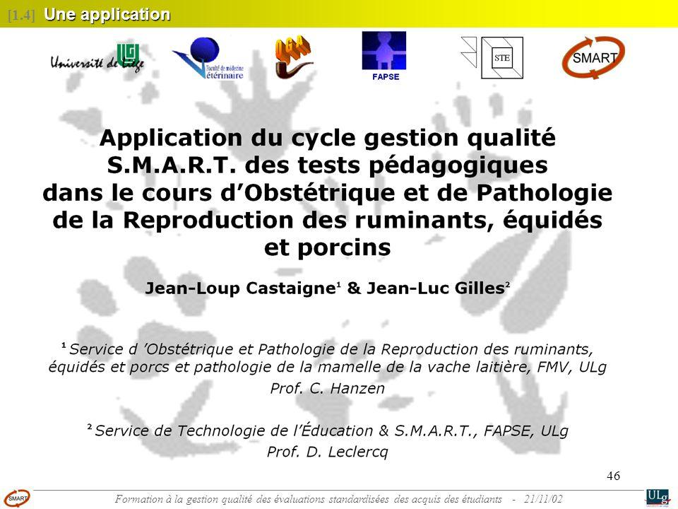 [1.4] Une application Formation à la gestion qualité des évaluations standardisées des acquis des étudiants - 21/11/02.